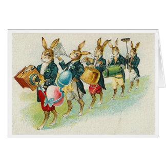 Défilé de lapin de Pâques !  Carte de voeux de Pâq