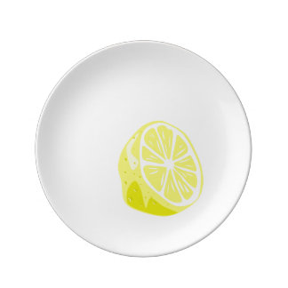 Demi de plat de porcelaine de citron assiette en porcelaine