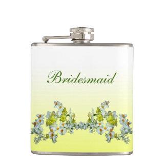 Demoiselle d'honneur florale jaune de mariage flasques