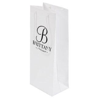 Demoiselle d'honneur personnalisée noire et sac cadeau pour bouteille