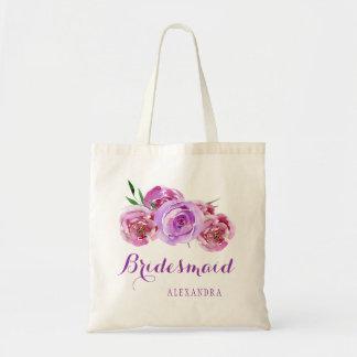 Demoiselle d'honneur pourpre de mariage de bouquet sac en toile budget
