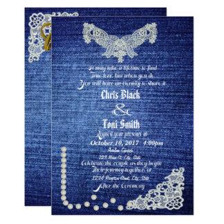 Denim, perles et invitation de mariage de dentelle