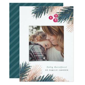 Dennen Engelse Bessen Kerst 12,7x17,8 Uitnodiging Kaart