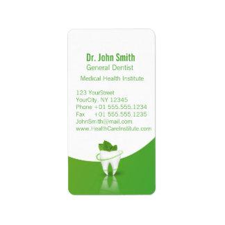 Dent en bon état médicale dentaire de feuille - étiquette d'adresse