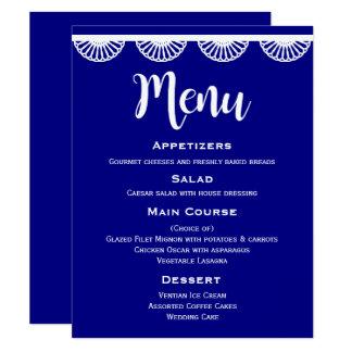 Dentelle blanche vintage de menu de mariage de carton d'invitation 10,79 cm x 13,97 cm