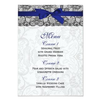 Dentelle de Faux et menu de mariage de bleu marine Carton D'invitation 12,7 Cm X 17,78 Cm