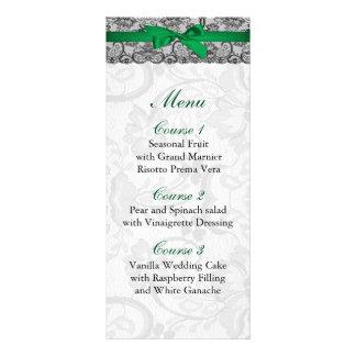 Dentelle de Faux et menu de mariage de vert vert Modèle De Carte Double