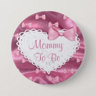 Dentelle de satin et bouton roses de baby shower badge rond 7,6 cm