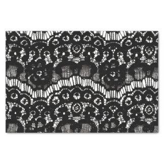 Dentelle florale française noire et blanche chic papier mousseline
