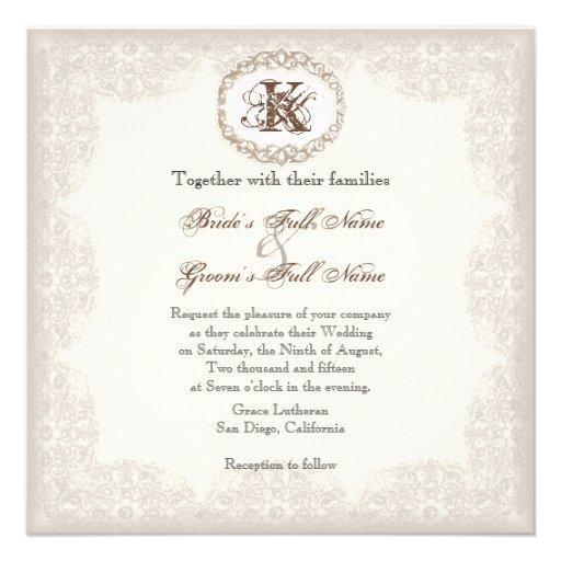 dentelle vintage de taupe faire part de mariage carton d 39 invitation 13 33 cm zazzle. Black Bedroom Furniture Sets. Home Design Ideas