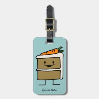 Dents de lapin de tranche de gâteau à la carotte étiquette à bagage