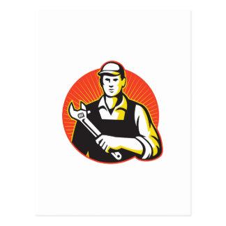Dépanneur de mécanicien avec la clé réglable rétro carte postale