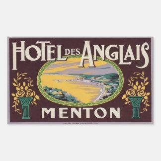 DES Anglais (Menton France) d'hôtel Sticker Rectangulaire
