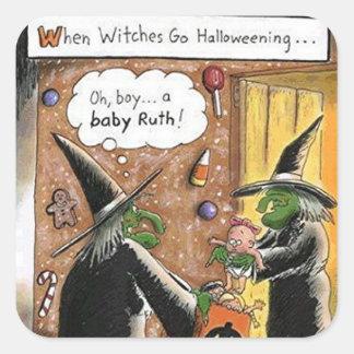 Des bonbons ou un sort drôle de sorcières de sticker carré
