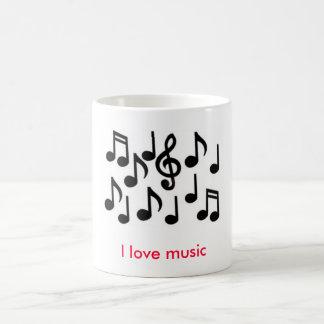 des notes de musique, j'aime la musique mug blanc