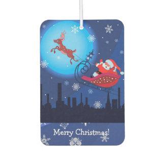 Désodorisant Pour Voiture Illustration drôle de Noël. Père Noël avec Rudolf