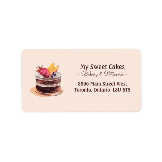 Dessert élégant de petit gâteau de patisserie de étiquettes d'adresse