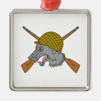 Dessin de casque de la guerre mondiale de tête de ornement carré argenté
