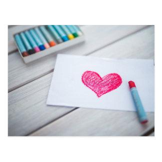 Dessin de coeur sur une note cartes postales