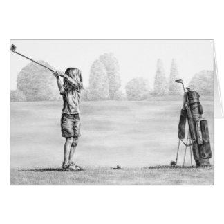 Dessin de golfeur de petite fille par le cygne de  carte de vœux