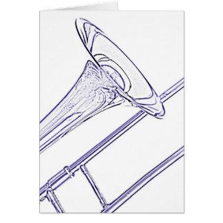 Dessin d'encre bleue de carte de voeux de trombone