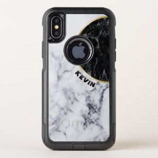 Dessin géométrique de marbre blanc et noir moderne