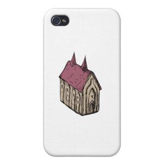 Dessin médiéval d'église étui iPhone 4/4S