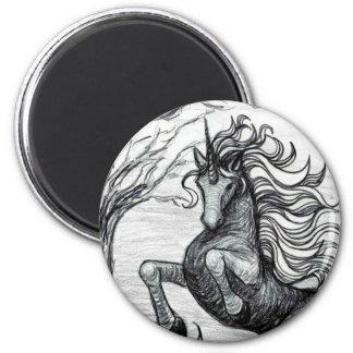 Dessin noir et blanc de licorne noire de licornes magnet rond 8 cm