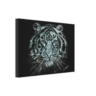 Dessin noir et blanc de tigre sur la toile de toiles