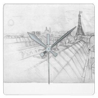 Dessin parisien de dessus de toit avec la visite horloge carrée