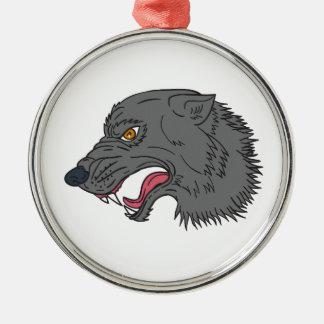 Dessin principal de grognement de loup gris ornement rond argenté