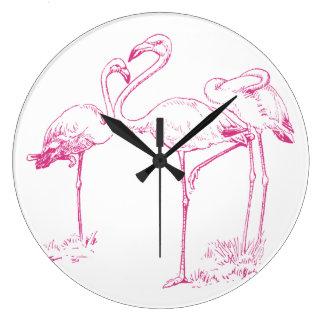 Dessin rose vintage de flamant grande horloge ronde
