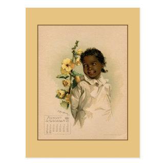 Dessin vintage de beaux enfants en août 1891 carte postale