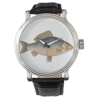 Dessin vintage de poisson d'eau douce de carpe montres bracelet