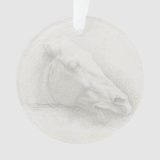 Dessin vintage de portrait de tête de cheval blanc