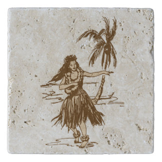 Dessous-de-plat Fille de danse polynésienne d'île hawaïenne de