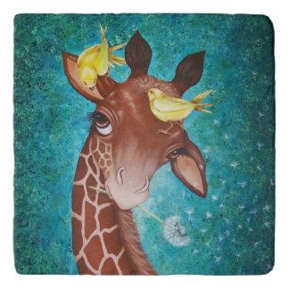 Dessous-de-plat Girafe mignonne avec des oiseaux