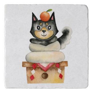 "Dessous-de-plat Illustration d'aquarelle de chien de ""Mochi Shiba"""