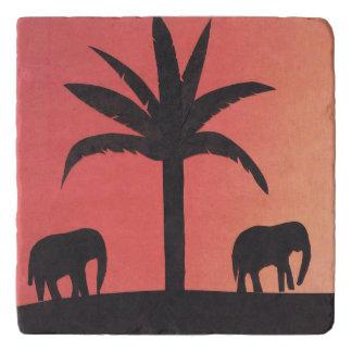 Dessous-de-plat Trépied de marbre avec la scène d'éléphant de