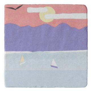 Dessous-de-plat Trépied de marbre avec la scène d'océan/montagne