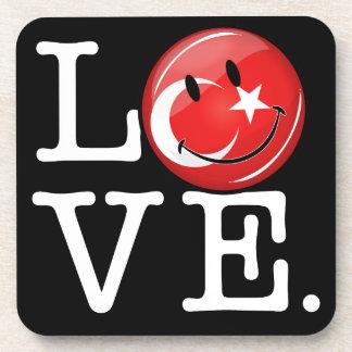 Dessous-de-verre Amour de drapeau de sourire de la Turquie