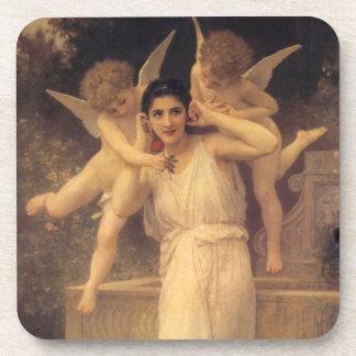 Dessous-de-verre Anges victoriens vintages, jeunesse par Bouguereau