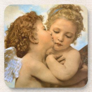 Dessous-de-verre Anges victoriens vintages, premier baiser par