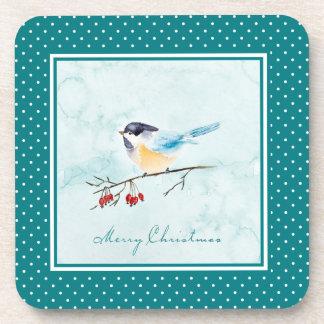 Dessous-de-verre Aquarelle de Noël | - oiseau et baies d'hiver