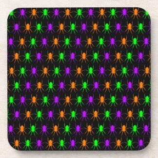 Dessous-de-verre Araignées lumineuses multi sur le noir