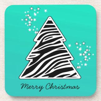 Dessous-de-verre Arbre de Noël de zèbre de turquoise