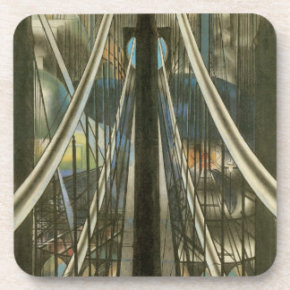 Dessous-de-verre Architecture vintage de New York, pont de Brooklyn