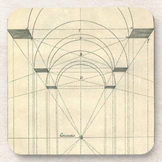 Dessous-de-verre Architecture vintage, perspective de voûte de la