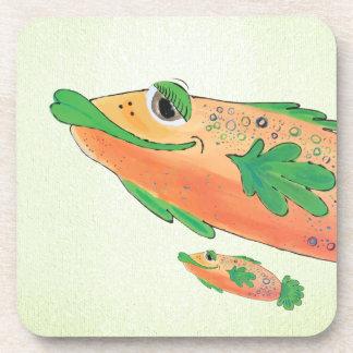 Dessous-de-verre Art lunatique et adorable de poissons orange et