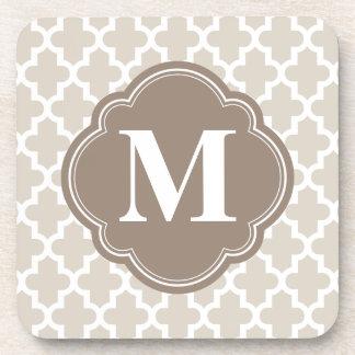 Dessous-de-verre Beige de toile et monogramme marocain moderne de B